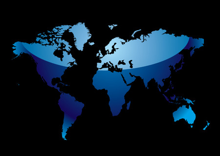 Blue world map with light reflection and black background Stock Vector - 5075908