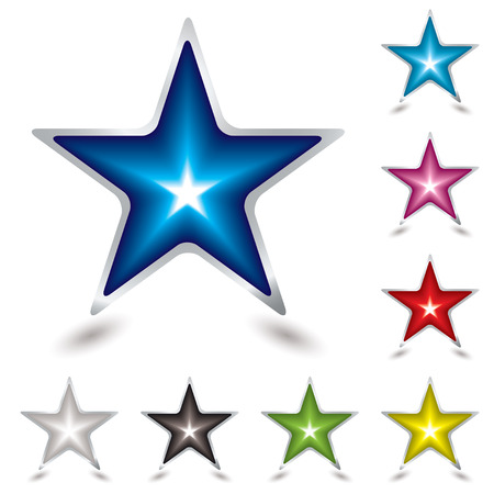 eight star gel icons with shadow with silver bevel Stock Vector - 5075910