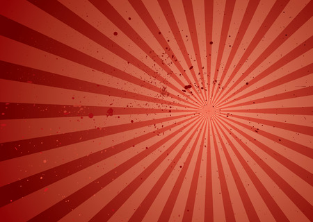 sunburst: Red abstract background with radiating rays and grunge ink splats Illustration