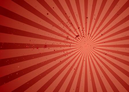starbursts: Rojo resumen de antecedentes de radiaci�n con rayos y grunge tinta s�mbolos Vectores
