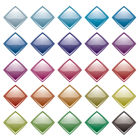 Collection of many diamond shaped icons with light reflection Vector