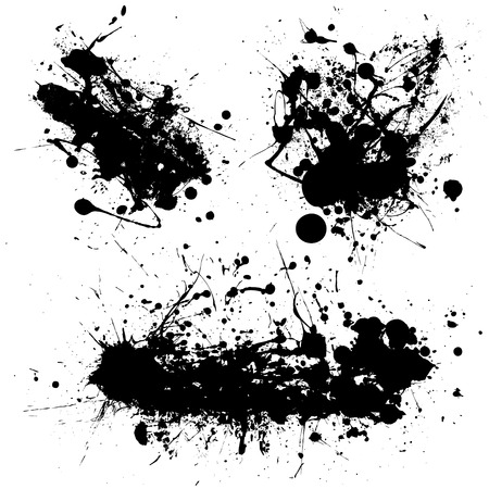Stark black ink splat with illustrated grunge effect Vector