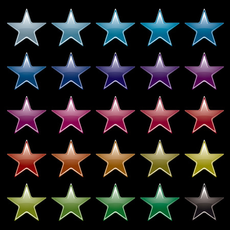 Collection of brightly colored star icons with black background Vector