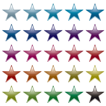 Collection of many brightly colored star shapes with light reflection Vector