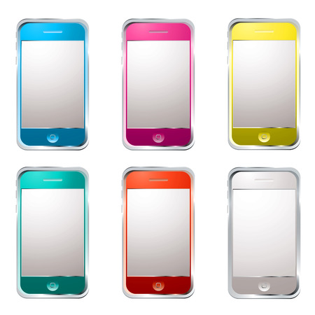 collection of six modern gadget phones with colour variation Stock Photo - 5192285