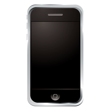 Illustrated technology phone with black screen and button