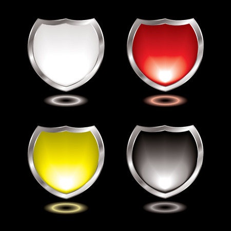 Collection of four gel field shields with silver bevel Vector