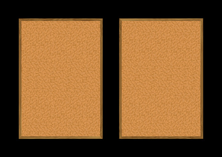 Two cork pin boards with wood frame and copy space Vector