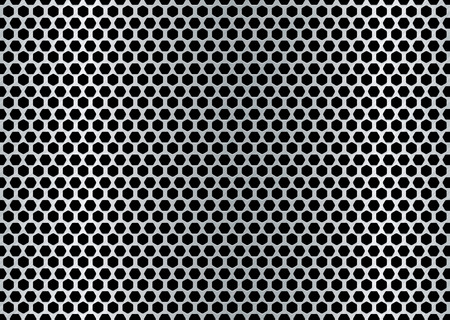 metal brushed background with punched holes and silver color Vector