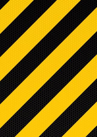 rayas de colores: Amarillo y negro con franja diagonal de alerta de fondo hexagonal con patr�n Vectores