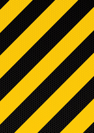 Yellow and black diagonal stripe warning background with hexagon pattern Vector