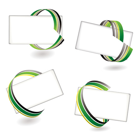 Collection of four place cards with ribbon effect and shadow Stock Vector - 5281845