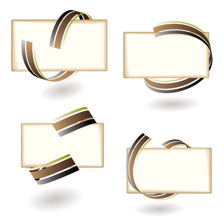 Collection of four abstract ribbon icons with blank paper Vector