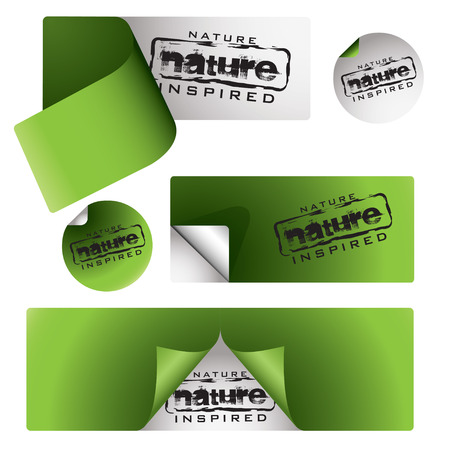 collection of green nature labels with page peel and shadow Vector