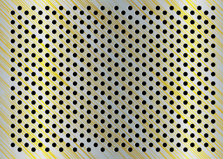 Gold and silver metal background with brushed effect and holes Vector