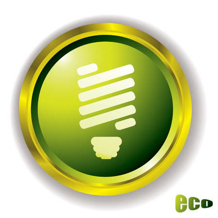 bevel: Eco green style icon with light blb and outer gold metal bevel Illustration