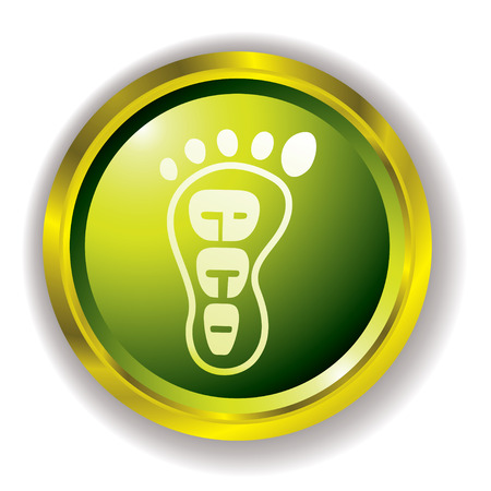 bevel: green eco foot print icon with gold bevel and outer shadow Illustration