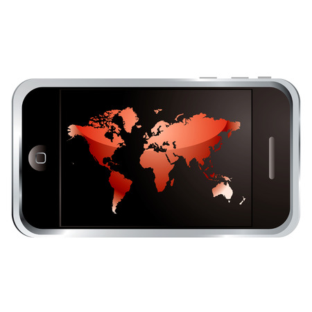 modern technology phone with large screen and world logo