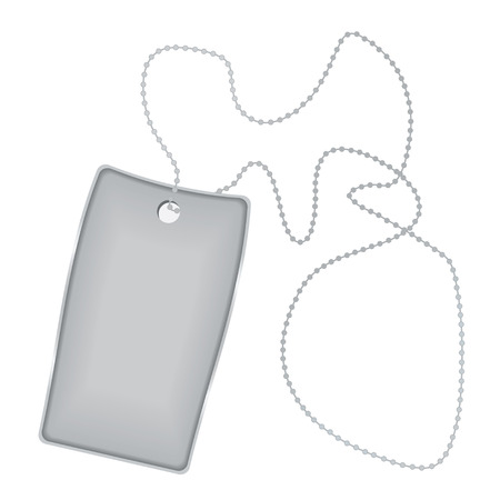 dogtag: Illustrated metal silver tag with chain and shadow