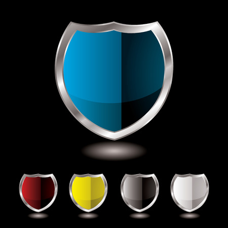 Collection of five shields with black background and reflection Vector