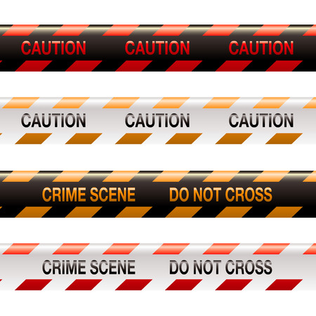 Four illustrations of modern crime scene warning tape in orange and red Vector