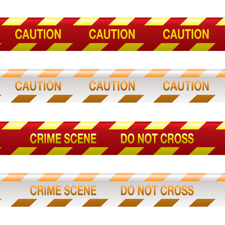 Four strips of crime scene tape in red and yellow with shadow effect Vector