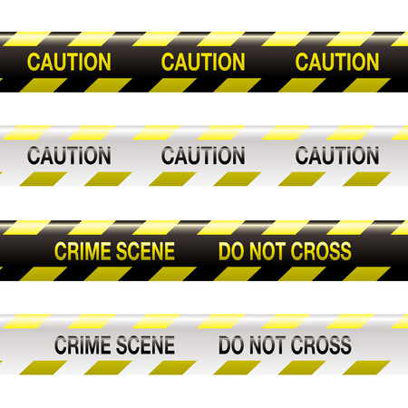 crimes: yellow and black police tape with warning stripe and text Illustration