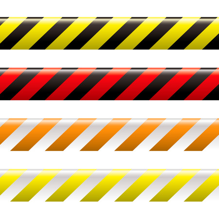 tapes: collection of four warning tapes in different colours with stripes