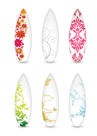 surfboards: collection of six surfboards with abstract patterns and shadow