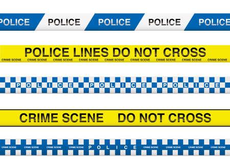 cintas: colecci�n de cinco cintas de la polic�a con informaci�n de la escena del crimen Vectores