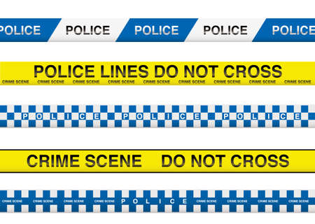 collection of five police tape with crime scene information Vector