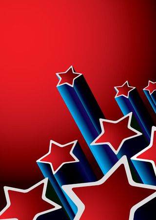 red and blue abstract seventies background with shooting stars Vector