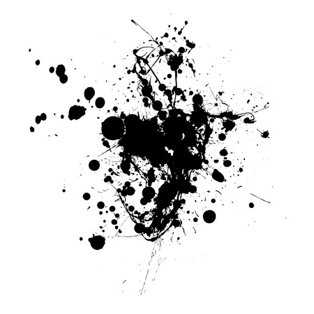 inky: Inky black splat with abstract shape and room to add text