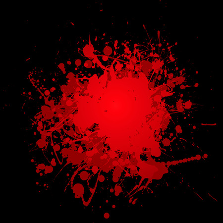 blob: abstract blood red ink splat with black background and copyspace Illustration
