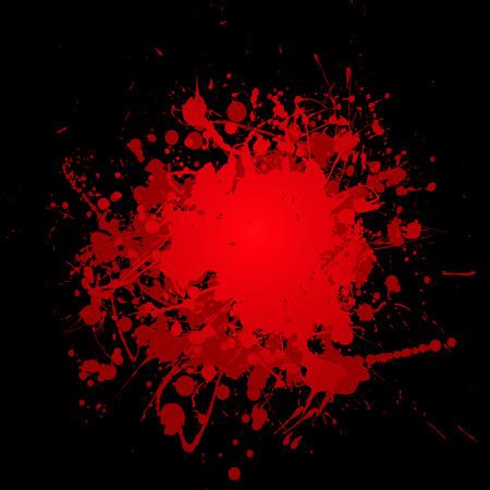 ink splat: resumen rojo s�mbolo de la sangre de tinta con fondo negro y copyspace Vectores