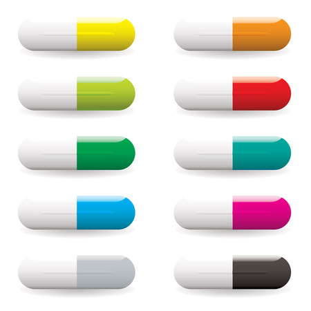 multi coloured: Collection of ten multi coloured medical pills with drop shadow