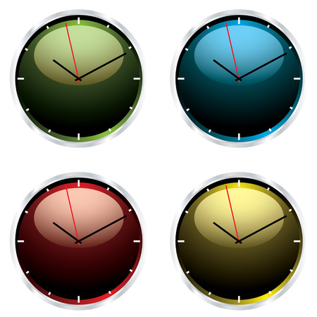 bevel: Four brightly coloured wall clocks with metal silver bevel