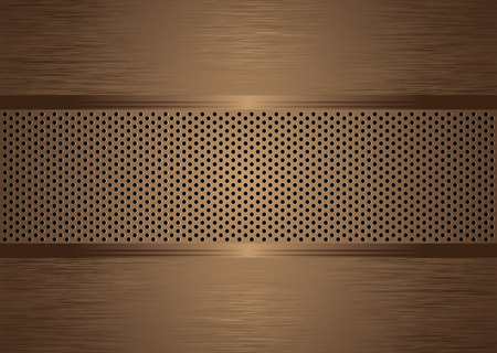 bronze abstract brushed metal background wit holes punched Vector
