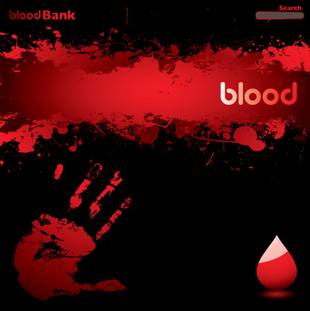 black and red blood inspired web page background with copyspace Vector