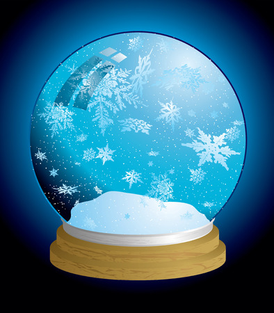 snowglobe: Christmas holiday snow globe with snowflakes and wooden base Illustration