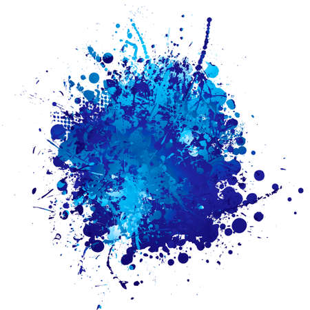 spatter: shades of blue abstract ink splat with white background