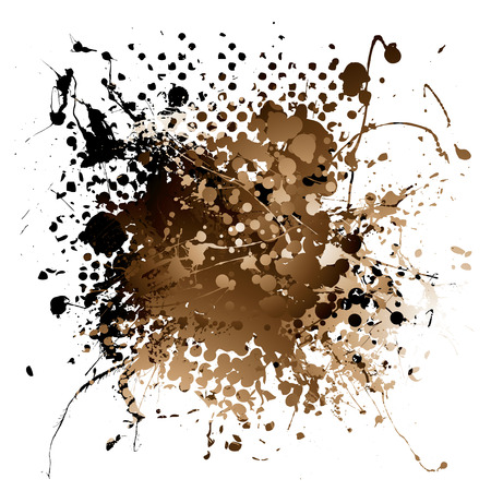splats: Grunge illustrated brown ink splat design with white background