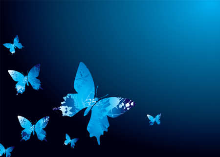 cobalt: Shades of blue natural background with butterflys and ink splats Illustration