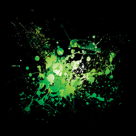 illustrated Abstract green and black ink splat background Stock Vector - 5772142