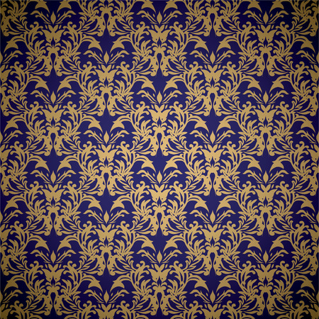 Golden floral seamless background design with blue gradient Vector