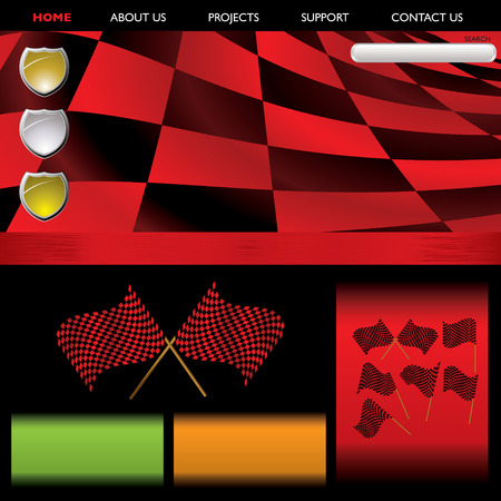 Abstract red checkered background with flags and room for your text Vector