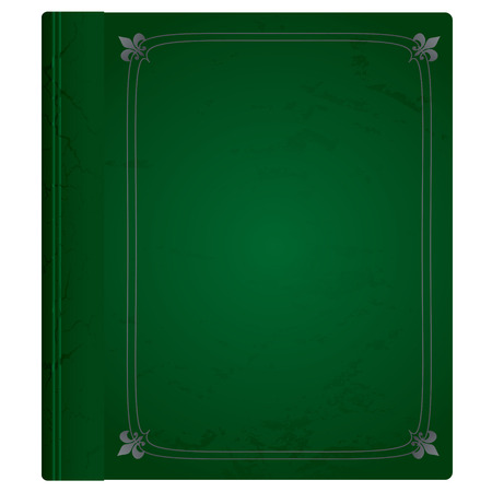 hard bound: Green and silver leather bound hard backed background Illustration