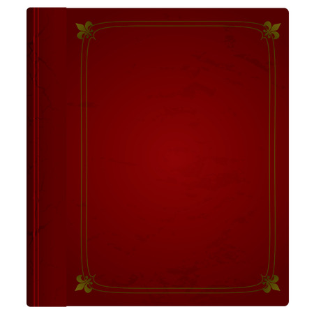 hardback: Maroon hardback book with leather cover and gold trim Illustration