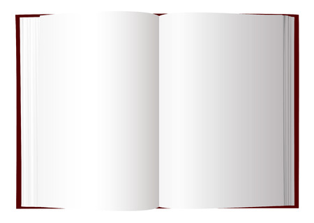 text book: Open book with white pages and room to add text Illustration
