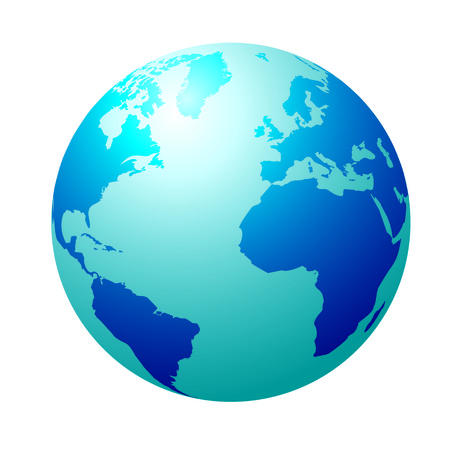 Blue circular globe showing north america and europe Stock Vector - 5833404